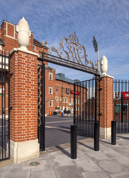 New Pavilion portico and foreground at The Oval Cricket Ground, London