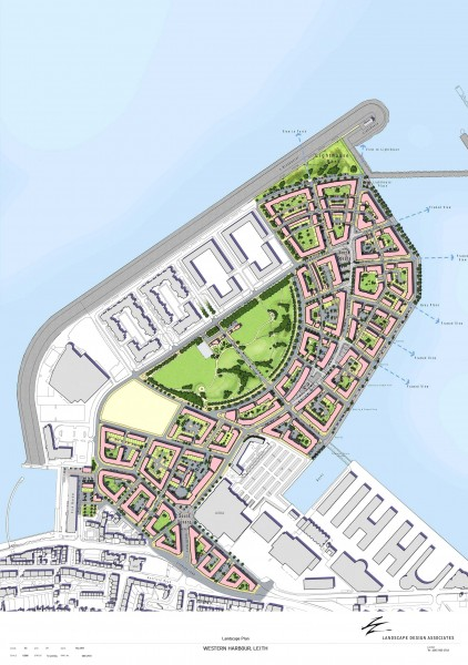 Masterplan for new urban quarter at Western Harbour, Leith, Scotland