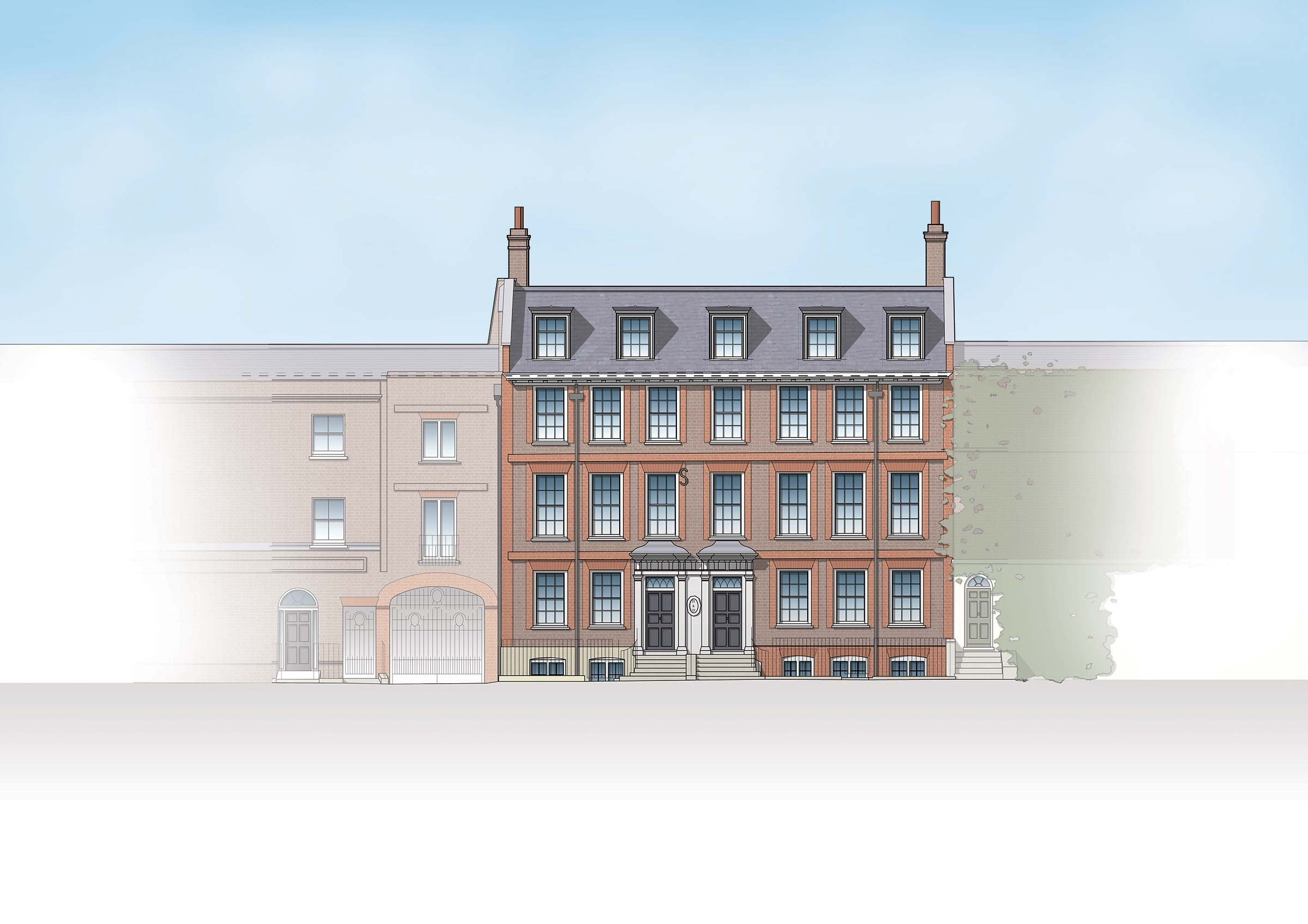 Restoration & alteration to two Grade II Listed houses, Richmond