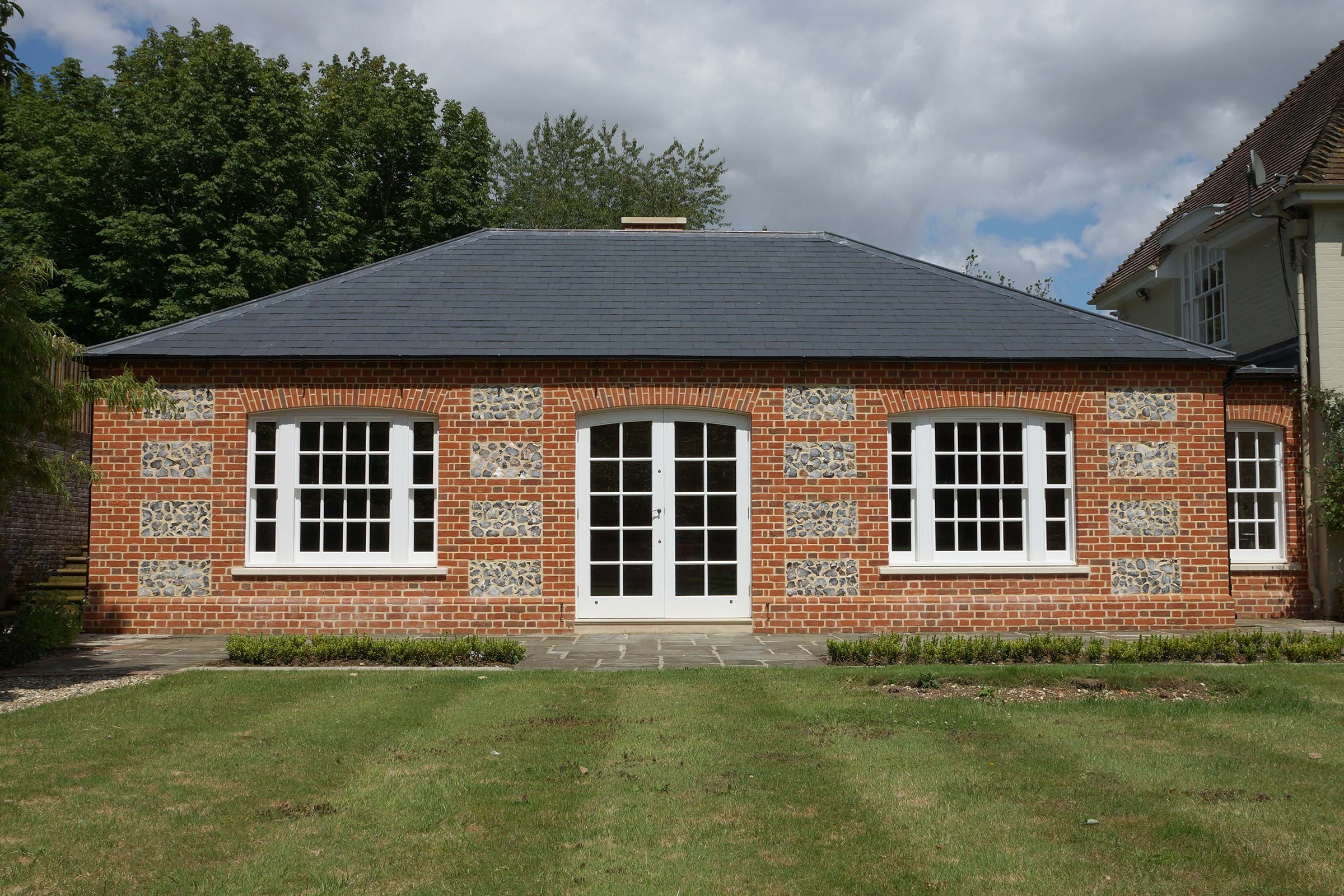New library extension to a house in Wiltshire